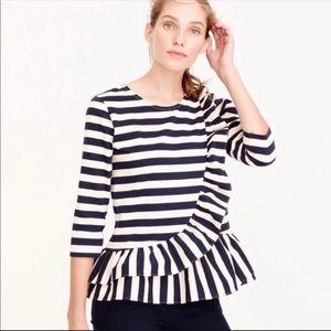J Crew | Asymmetrical Striped Ruffle Top